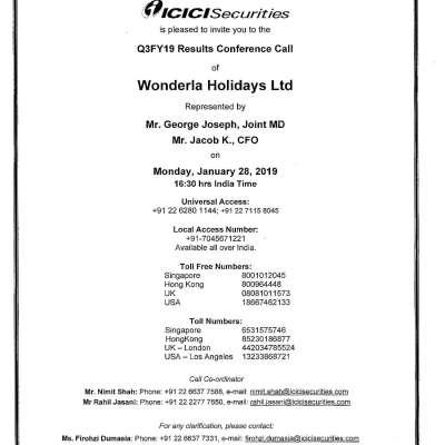 Investors Meetings | Wonderla Amusement Parks & Resort