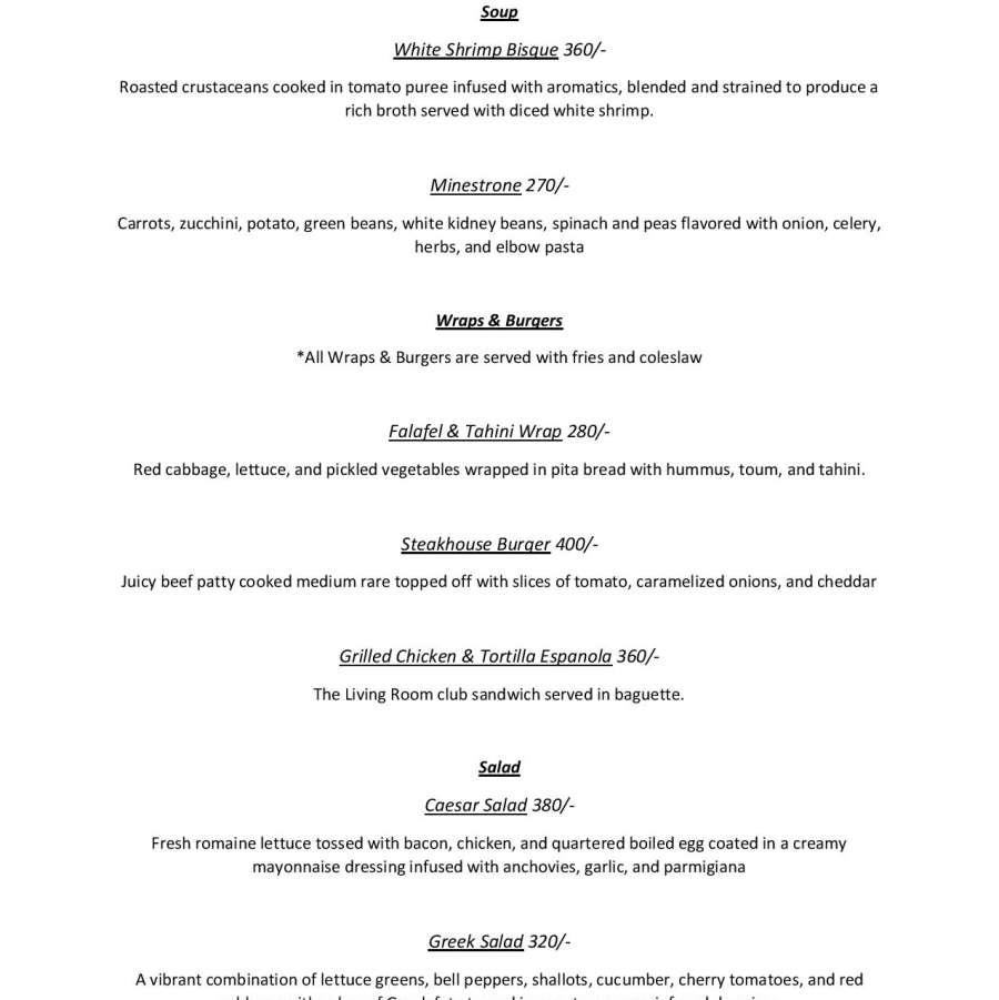 LR Beach Lounge - Food Menu