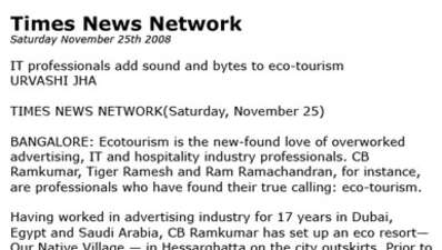 Times news network writes about Our Native Village - Best resort near Bangalore 111