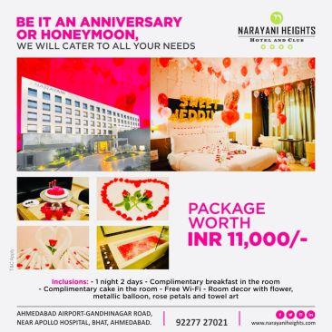 anniversary and honeymoon package at narayani heights, hotels near ahmedabad airport 2