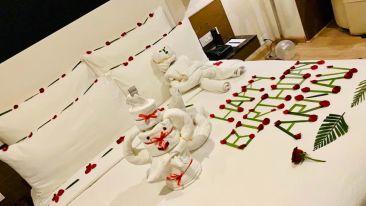 birthday decoration in the room at Narayani Heights, hotel room in Gandhinagar 2