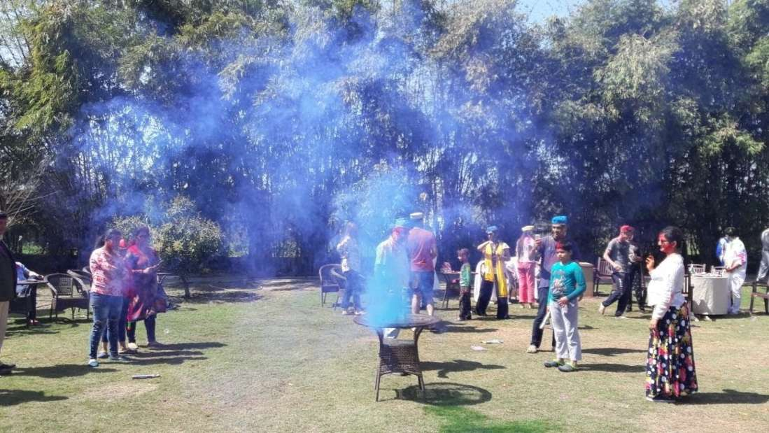 Holi celebrations in Corbett