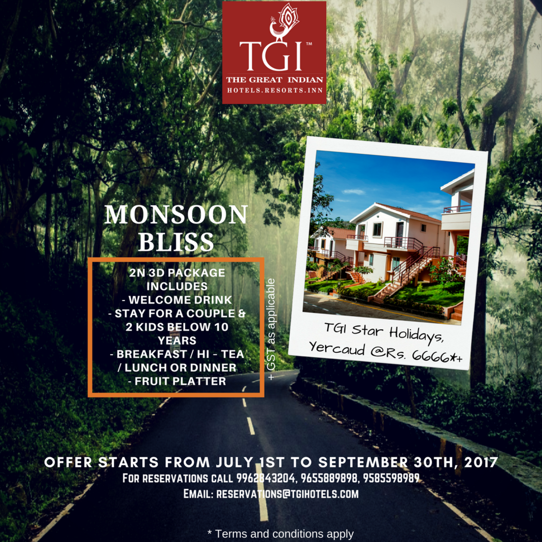 TGI Hotels and Resorts   yercaud