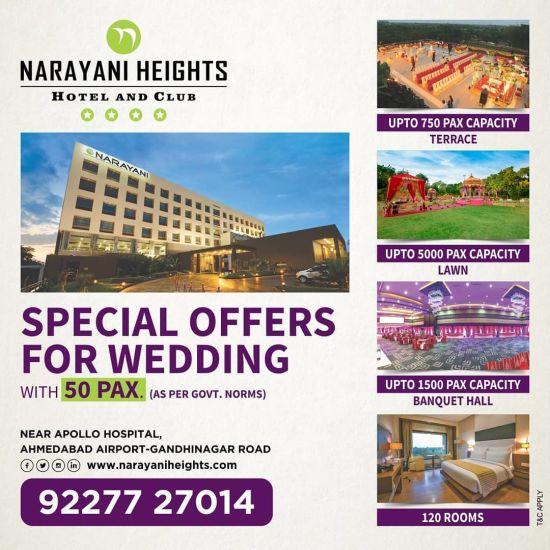 wedding offers at narayani heights, hotels near ahmedabad airport, wedding in ahmedabad