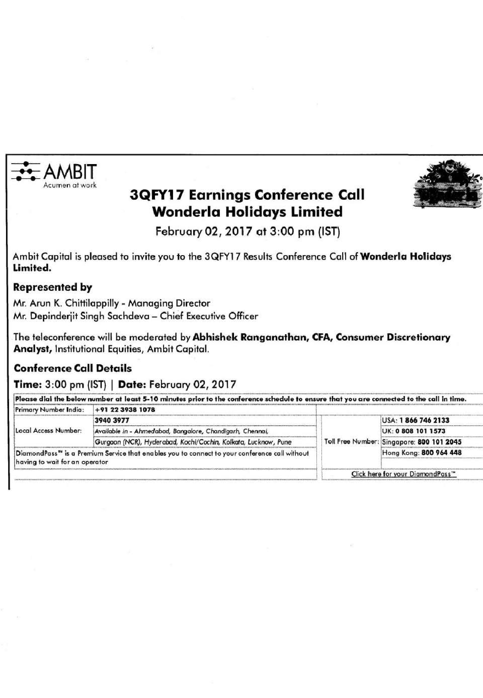 Wonderla Amusement Parks & Resort  Conference Call Details-page-001