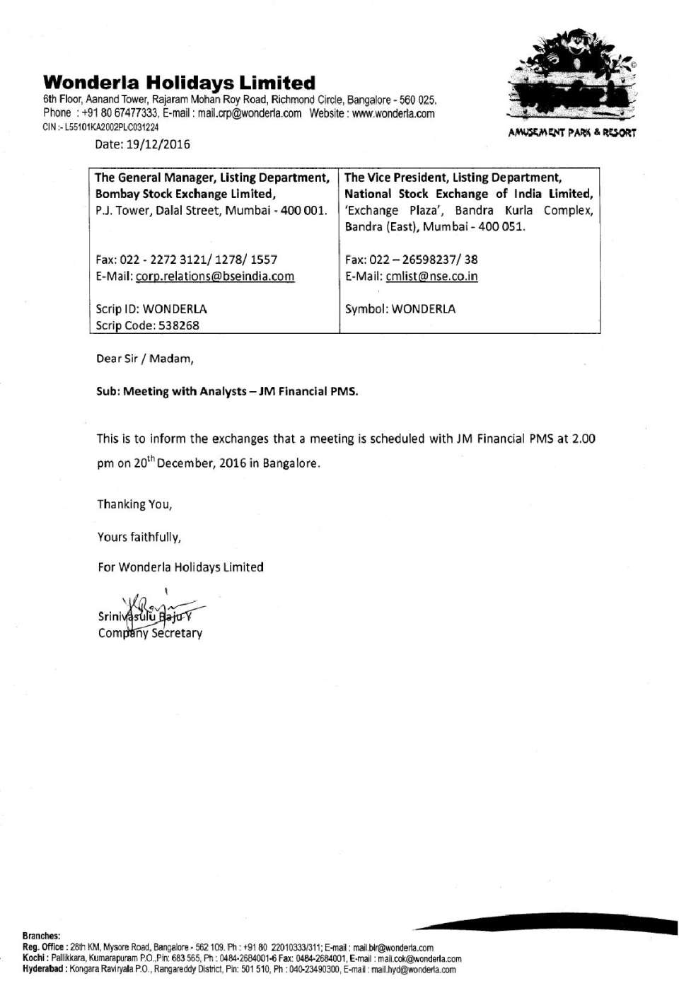 Wonderla Amusement Parks & Resort  Meeting with Analysts-JM Financial PMS-page-001