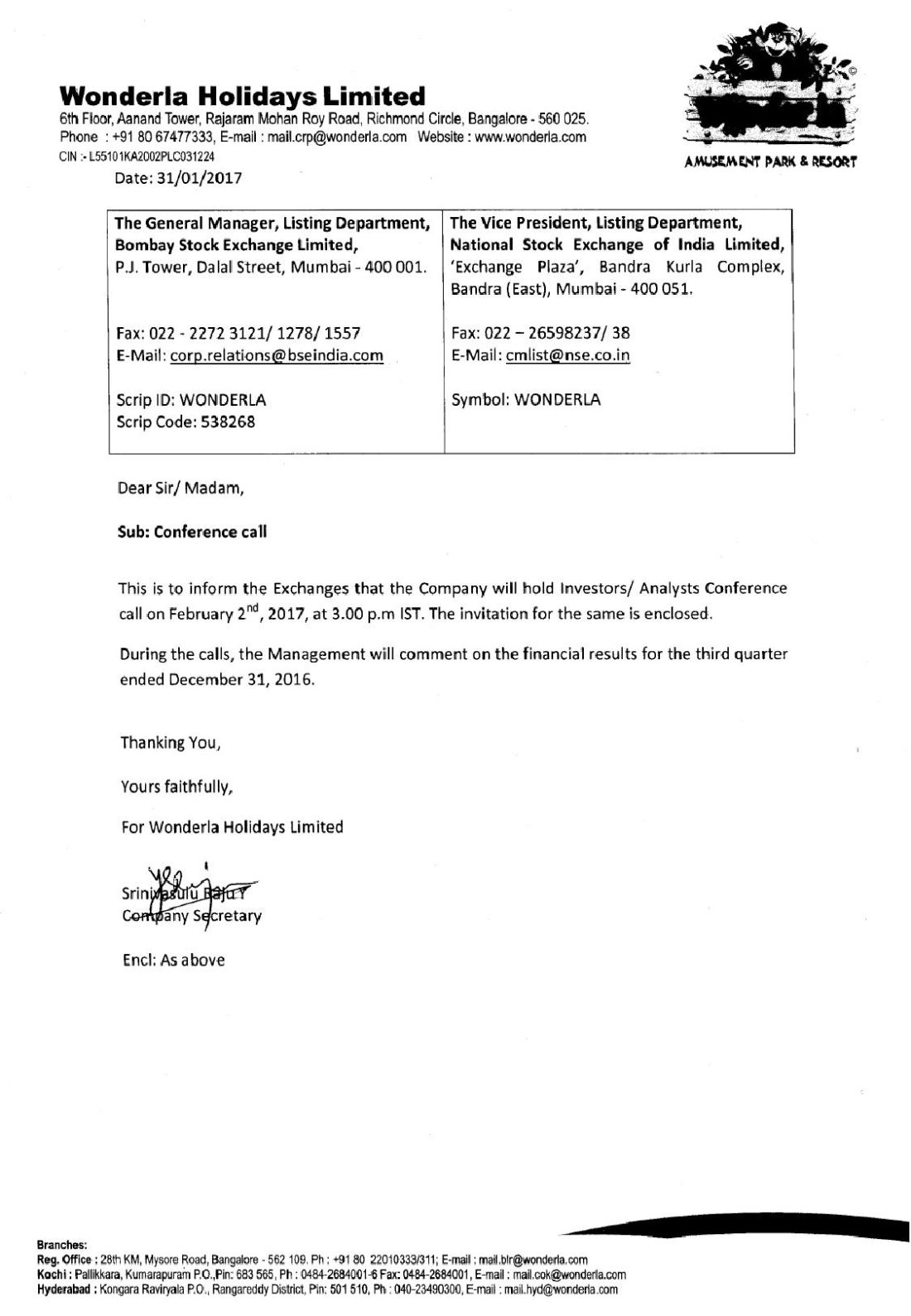 Wonderla Amusement Parks & Resort  Conference Call Notice-page-001