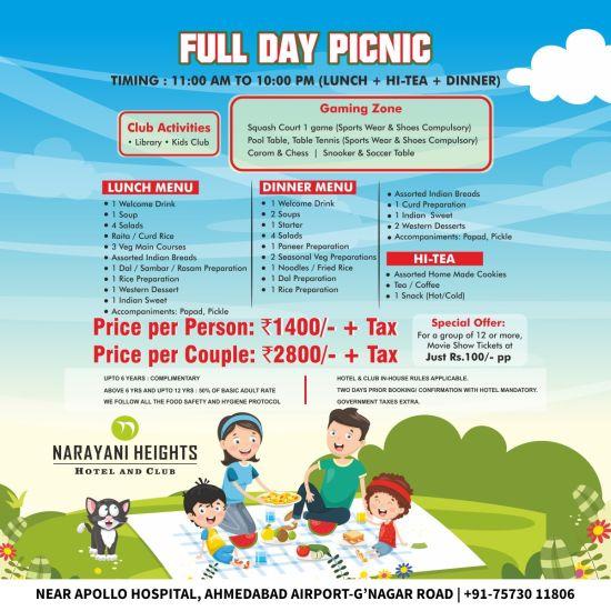 full day picnic offer at Narayani Heights hotel ahmedabad, 4 star hotel in gandhinagar