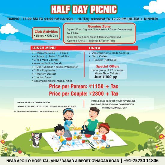 half day picnic offer at Narayani Heights hotel ahmedabad, 4 star hotel in gandhinagar
