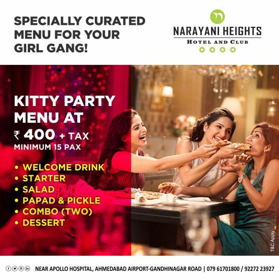 kitty party offer at Narayani Heights hotel ahmedabad, 4 star hotel in ahmedabad
