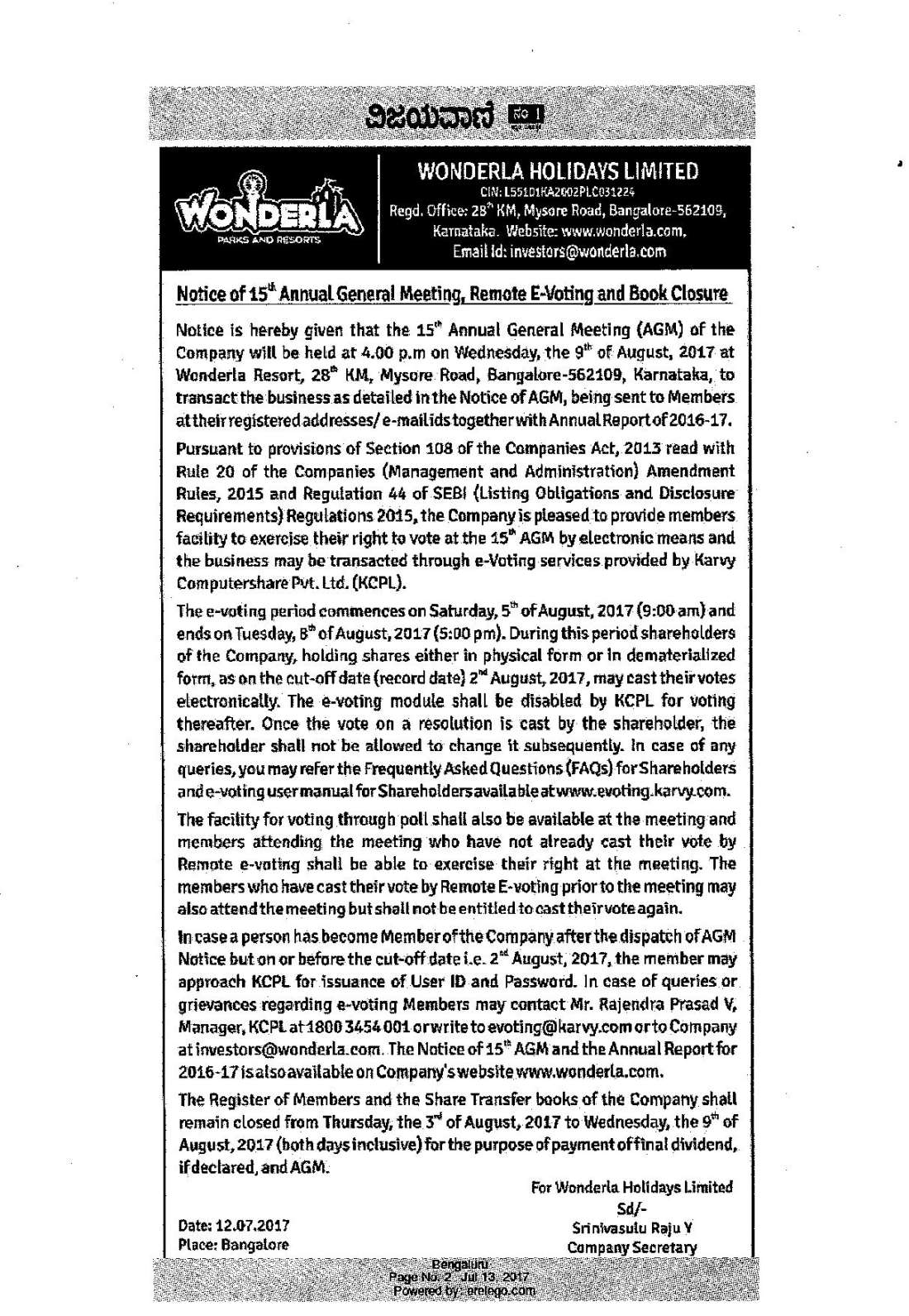 Wonderla Amusement Parks & Resort  AGM Notice Advt 2017-page-001