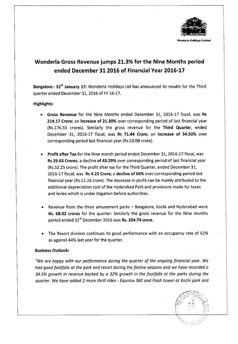 Wonderla Amusement Parks & Resort  PressRelease Q3 results-page-001