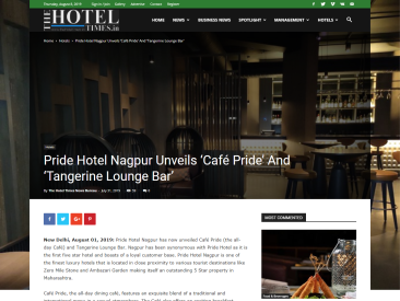 Pride Hotel Nagpur launches Café Pride and Tangerine Lounge Bar The Hotel Times 6-8-2019