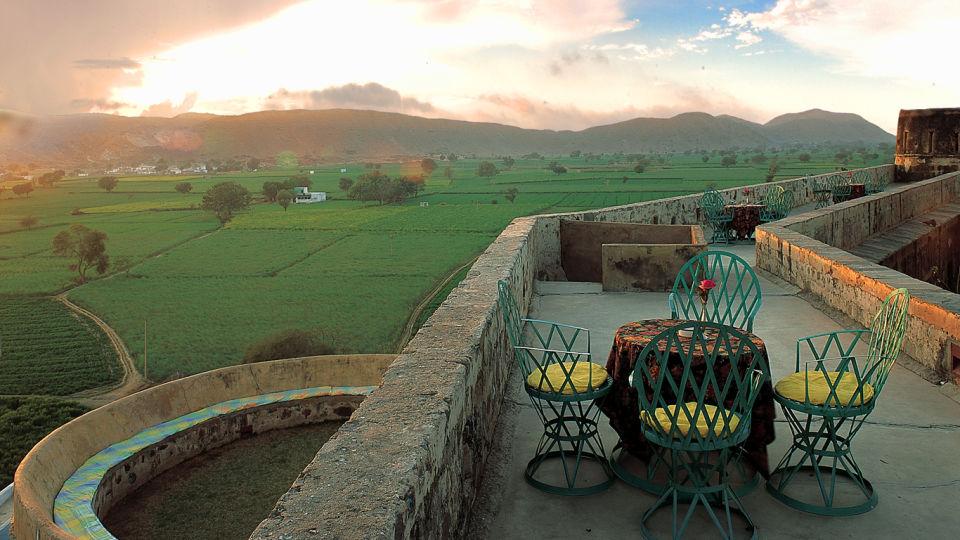Hill Fort-Kesroli - 14th C, Alwar Kesroli Hill Fort-Kesroli Resort in Alwar Resort in Rajasthan Mountain view terrace