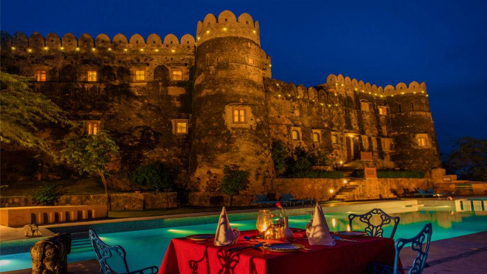 Hill Fort-Kesroli - 14th C, Alwar Kesroli Hill Fort-Kesroli Resort in Alwar Resort in Rajasthan Pool side dining