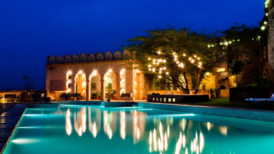 Hill Fort-Kesroli - 14th C, Alwar Kesroli Hill Fort-Kesroli Resort in Alwar Resort in Rajasthan Pool view restaurant