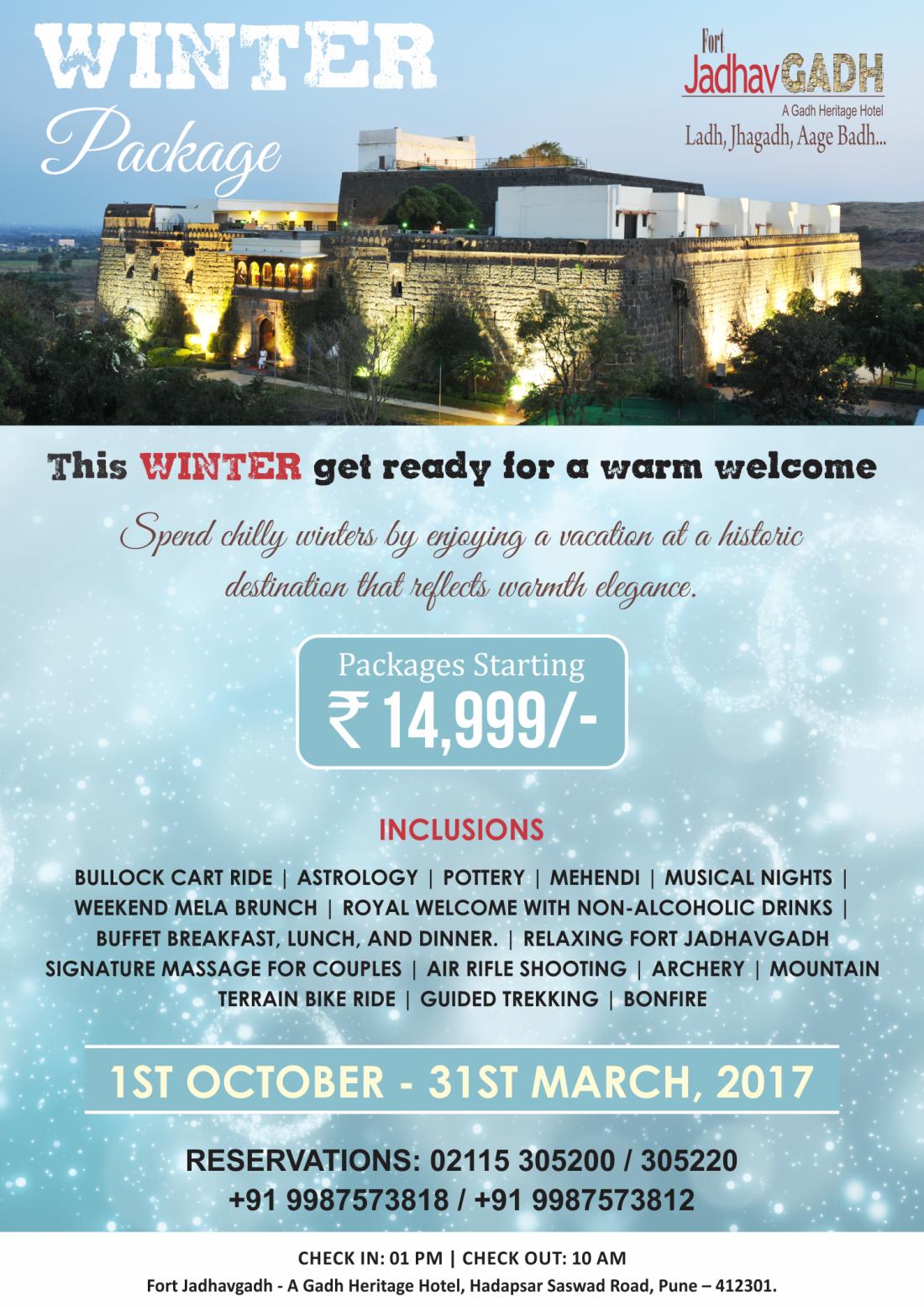 Winter Package A at Fort Jadhavgadh Heritage Resort Hotel Pune