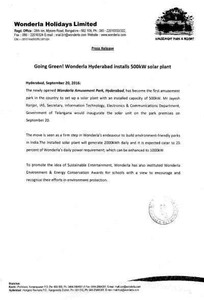 Wonderla Amusement Parks & Resort  PressRelease-1