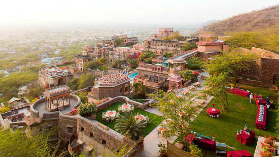 Neemrana Fort-Palace - 15th C, Delhi-Jaipur Highway Neemrana Facade Premises Neemrana Fort Palace11