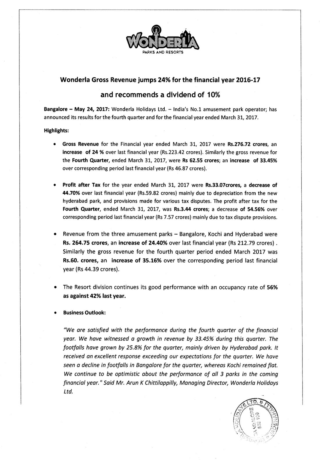 Wonderla Amusement Parks & Resort  Press Release - Financial results - 24.05.2017-1