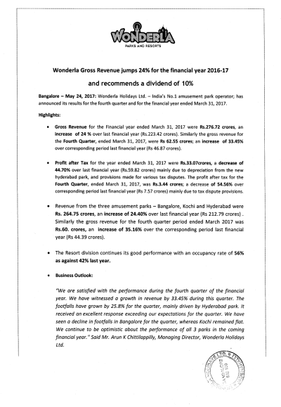 Wonderla Amusement Parks & Resort  Press Release - Financial results - 24.05.2017-1