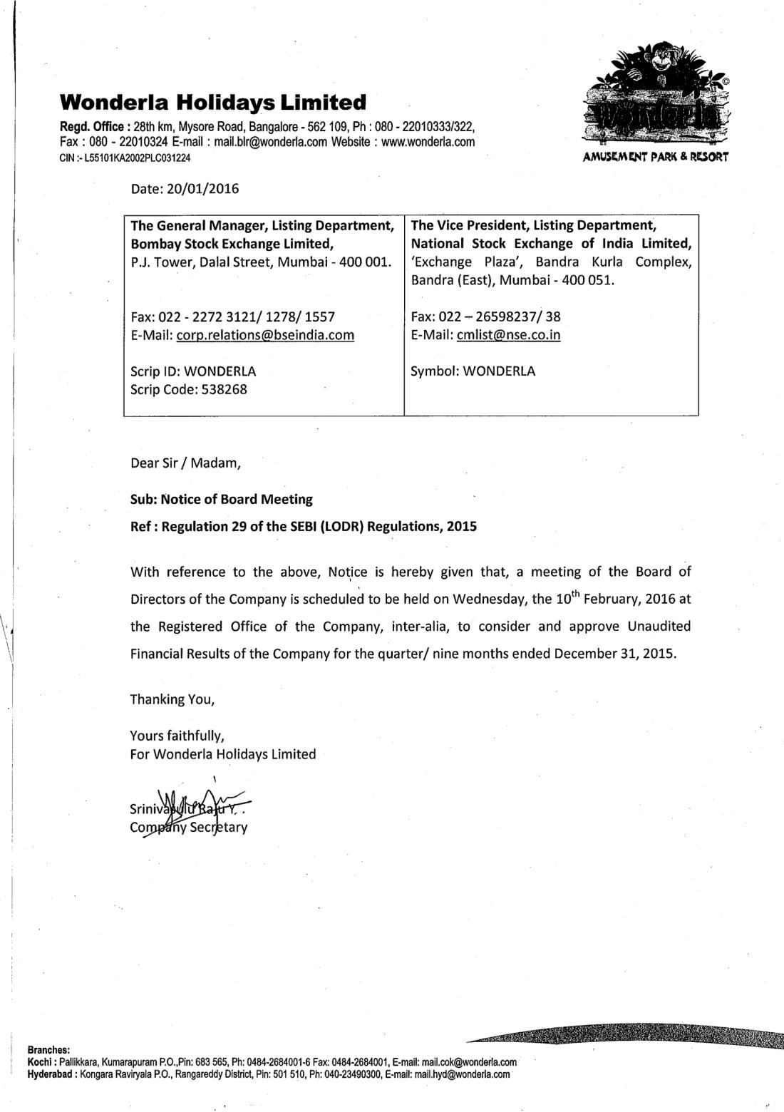 Wonderla Amusement Parks & Resort  BM Notice 31.12.2015-1