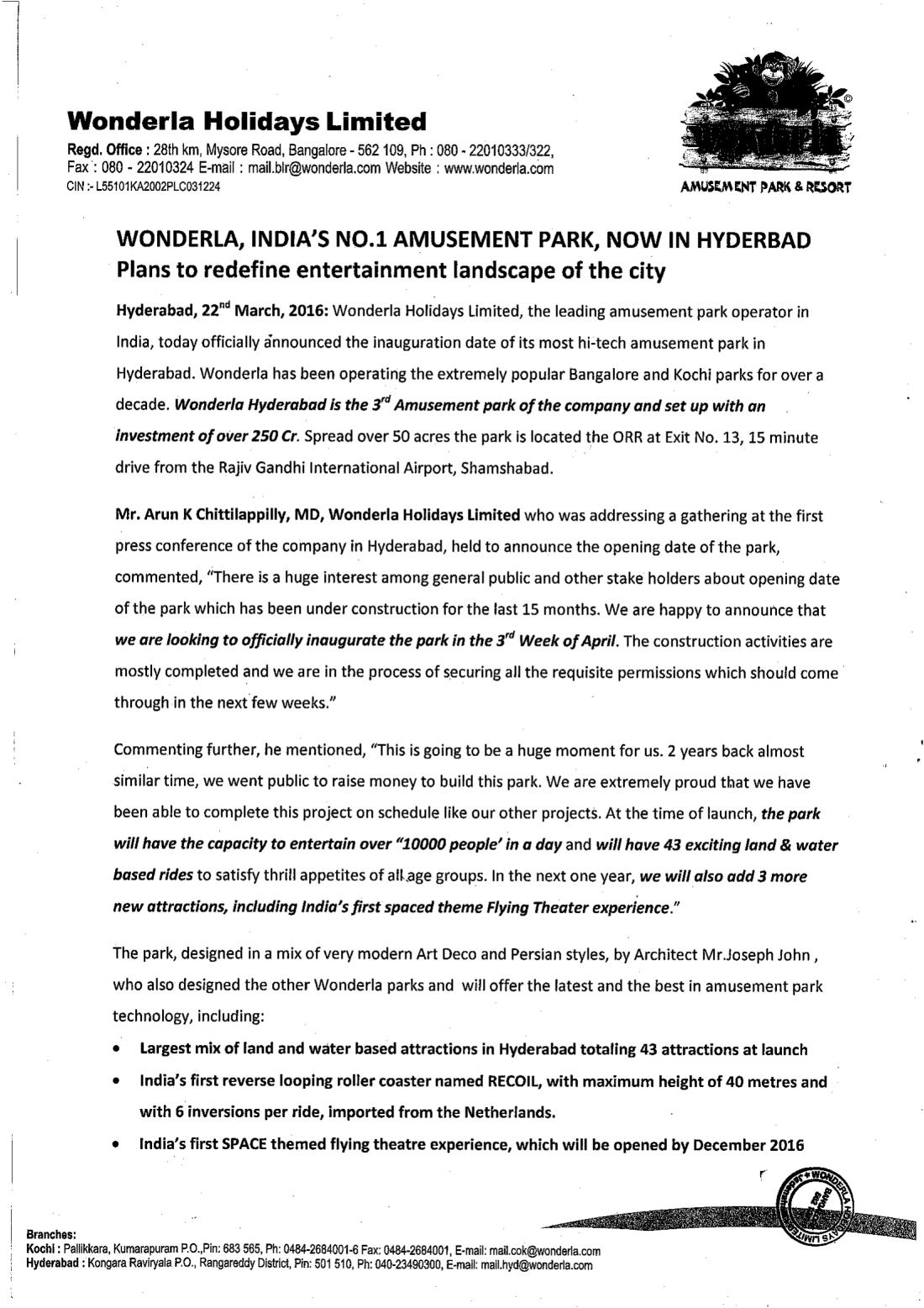 Wonderla Amusement Parks & Resort  PressReleaseHydpark-1