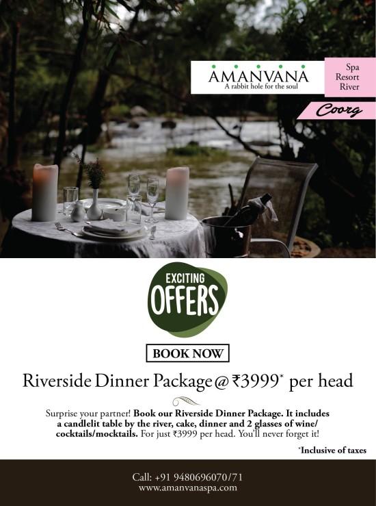 Riverside Dinner Package ,Amanvana Resort Spa, Amazing Hotel Deals In Coorg