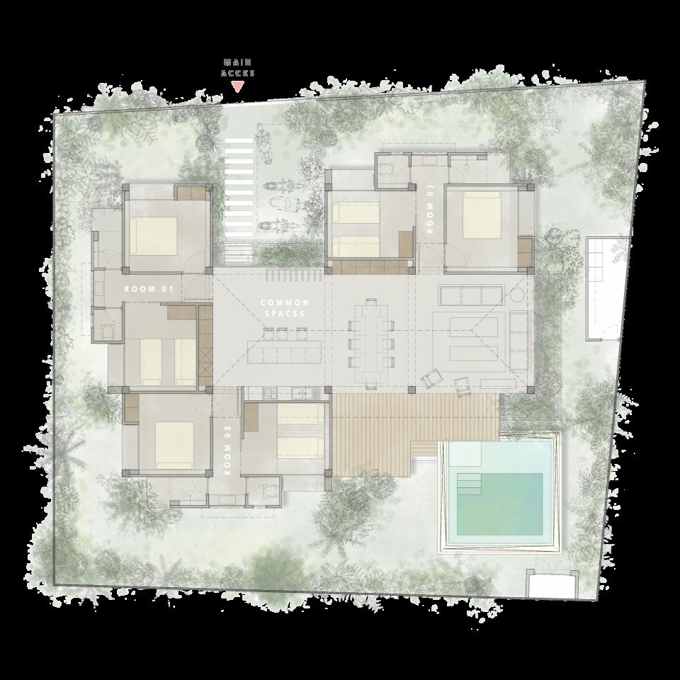 villas in Siargao, rent a villa in Siargao, houses for rent in Siargao, Siargao villas Tadhana Villa Layout