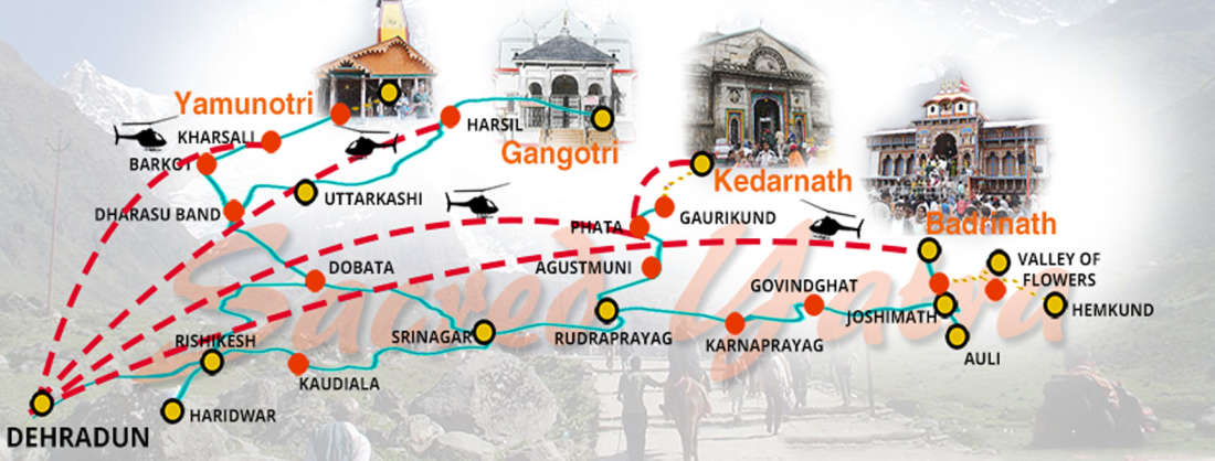 char-dham-yatra-in-india-map Chardham Experience with Leisure Hotels
