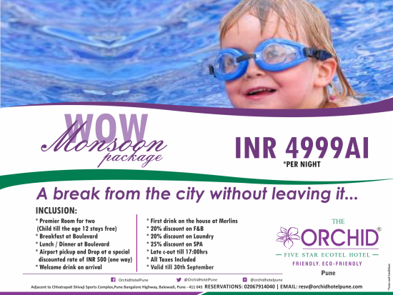 The Orchid Hotel Pune Pune Monsoon Package The Orchid Hotel Pune Hotels In Pune