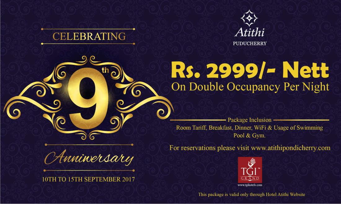 Hotel Atithi - TGI Grand, Pondicherry Pondicherry Anniversary banner TGI-Residency Hotel Atithi Pudducherry