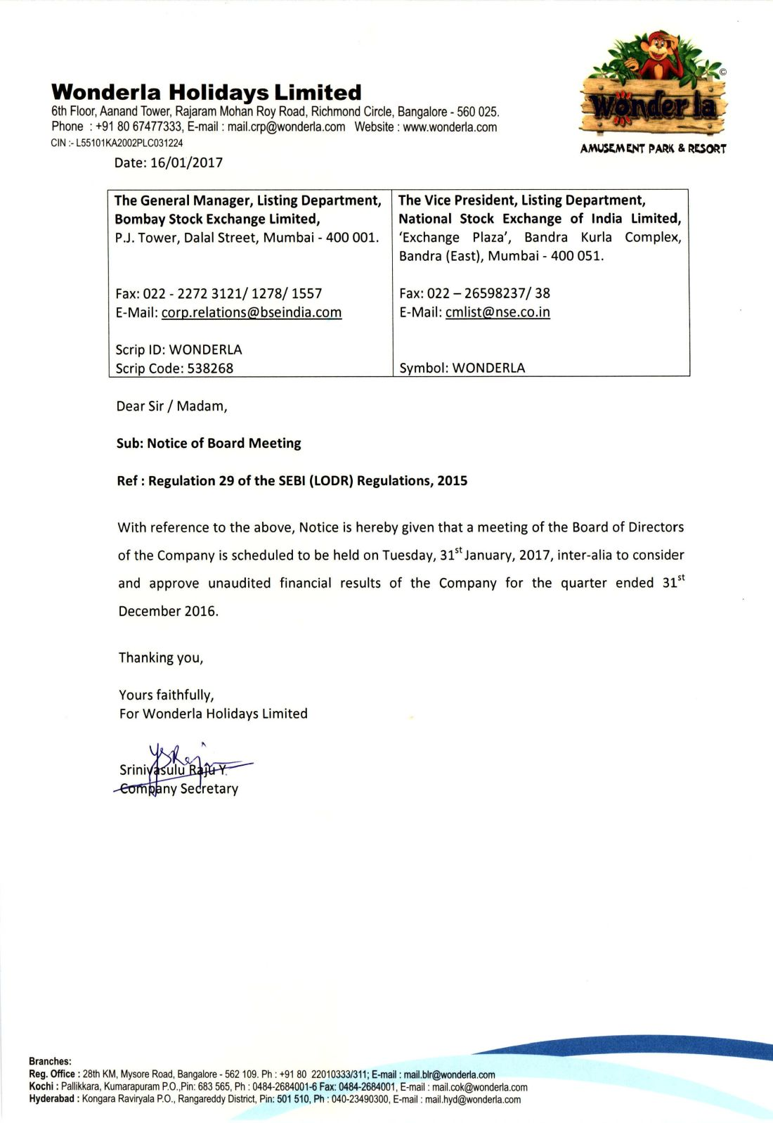 Wonderla Amusement Parks & Resort  Notice of Board Meeting-page-001