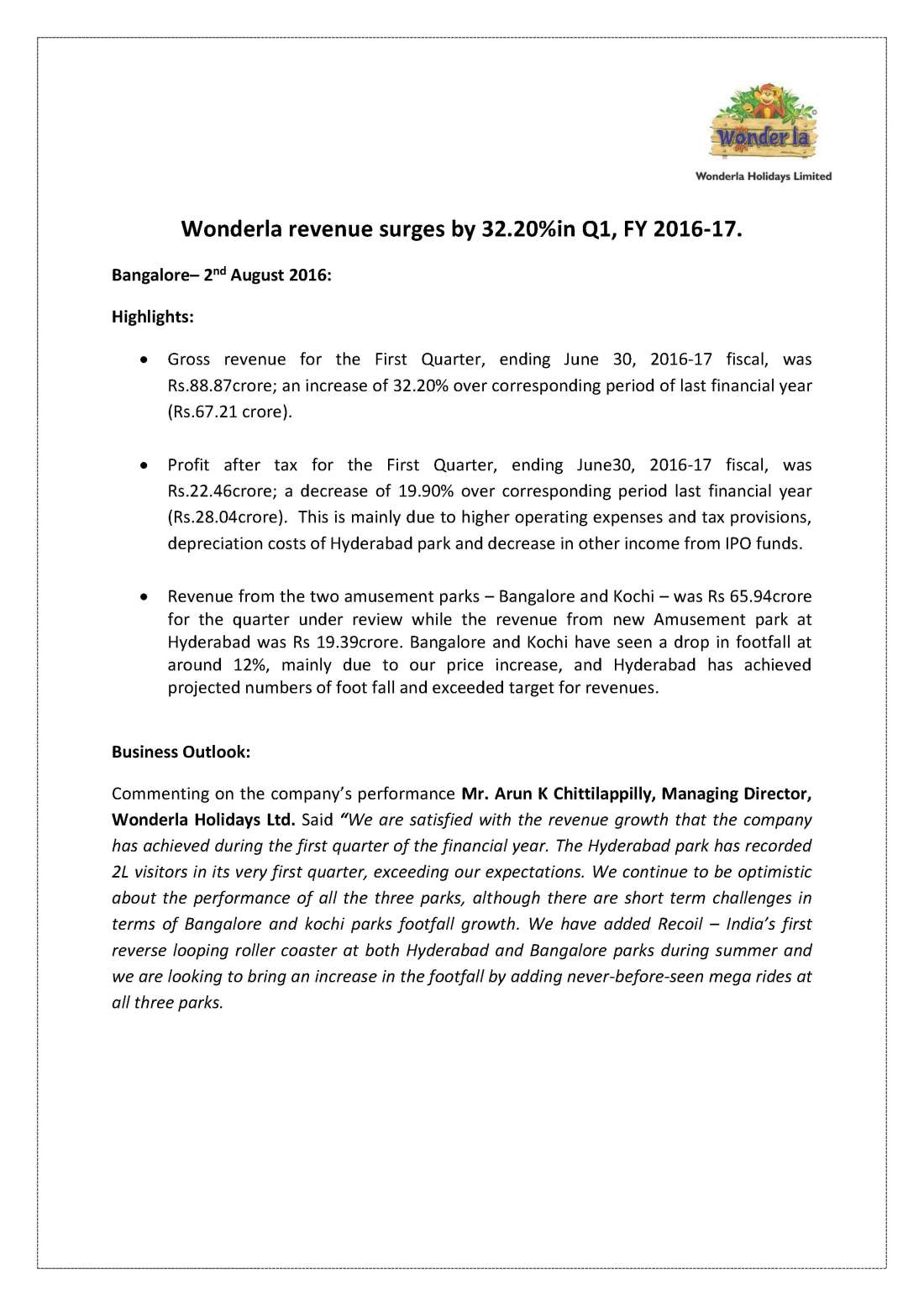 Wonderla Amusement Parks & Resort  file-page1