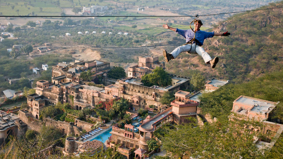 Flying Fox Neemrana Fort-Palace Alwar Rajasthan