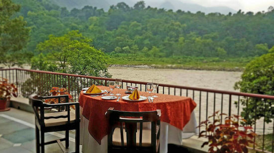 The Glasshouse on The Ganges - 21st Century, Rishikesh Rishikesh Dining The Glasshouse on the Ganges above Rishikesh Uttarakhand 2