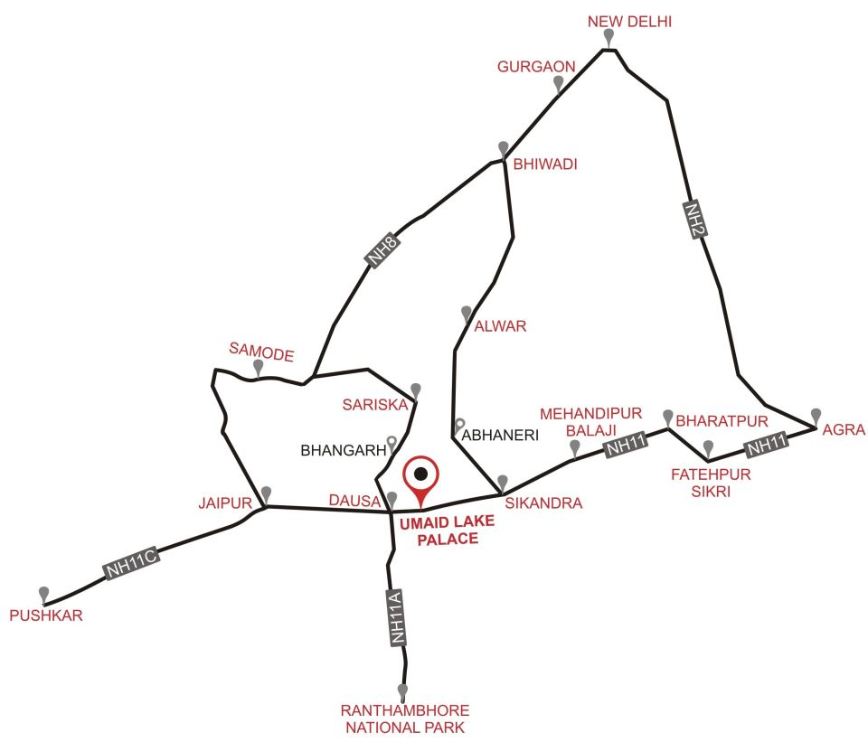 Map of Umaid Lake Palace Hotel Kalakho Dausa Rajasthan