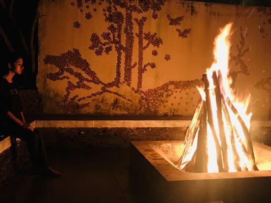 Bonfire at Lulung Aranya Nivas