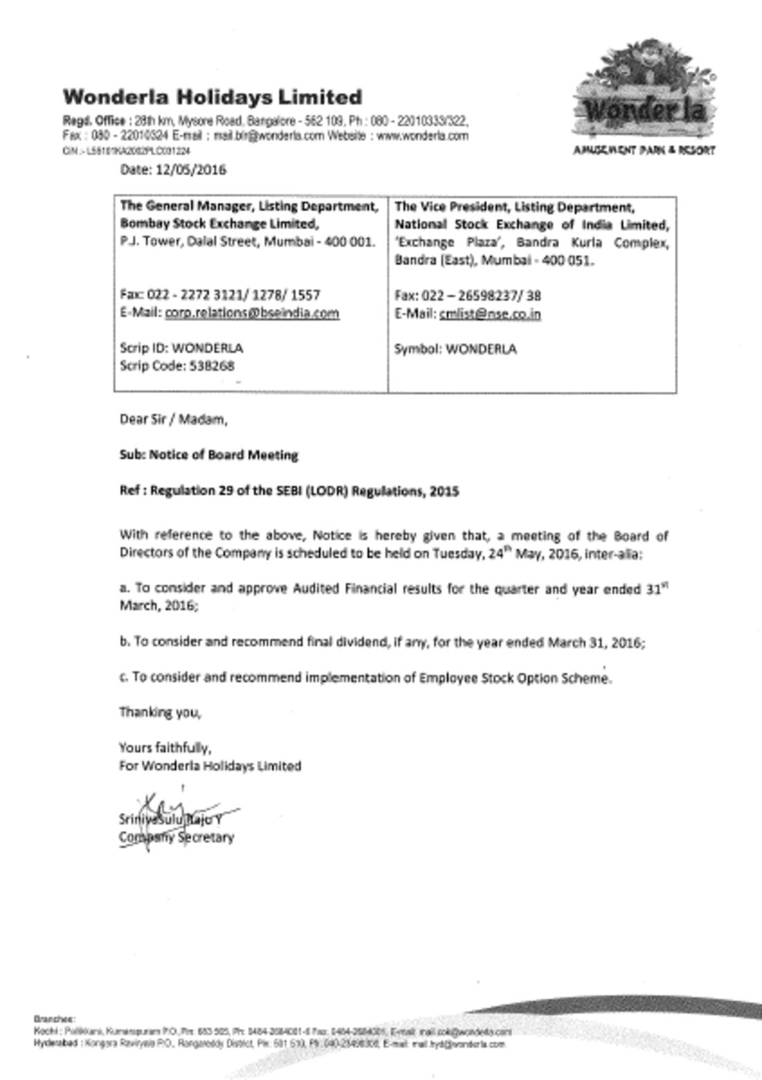 Wonderla Amusement Parks & Resort  BM Notice