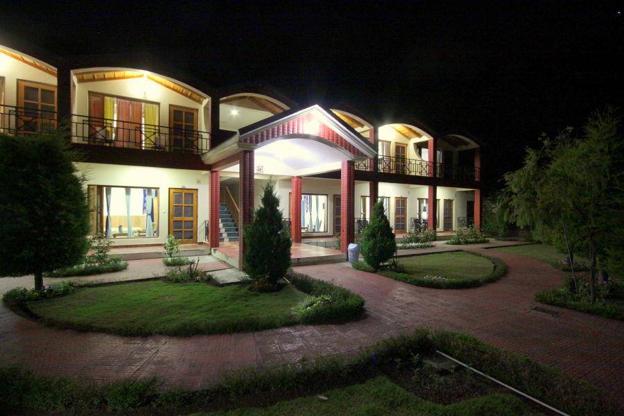 alt-text Ojaswi Resort Chaukori Chaukori Night View of Ojaswi Hotel and Resort in Chaukori
