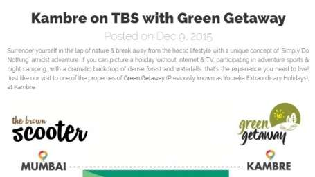 Green Getaway Camps  TBS Green Getaway Camps