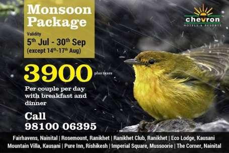 Chevron Hotels  Monsoon Package Chevron Hotels and Resorts Uttarakhand
