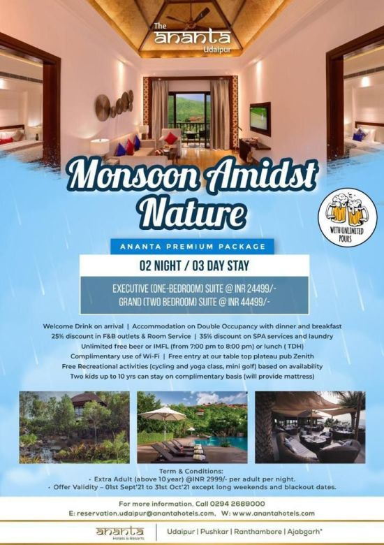 Monsoon packages for accommodation in Udaipur