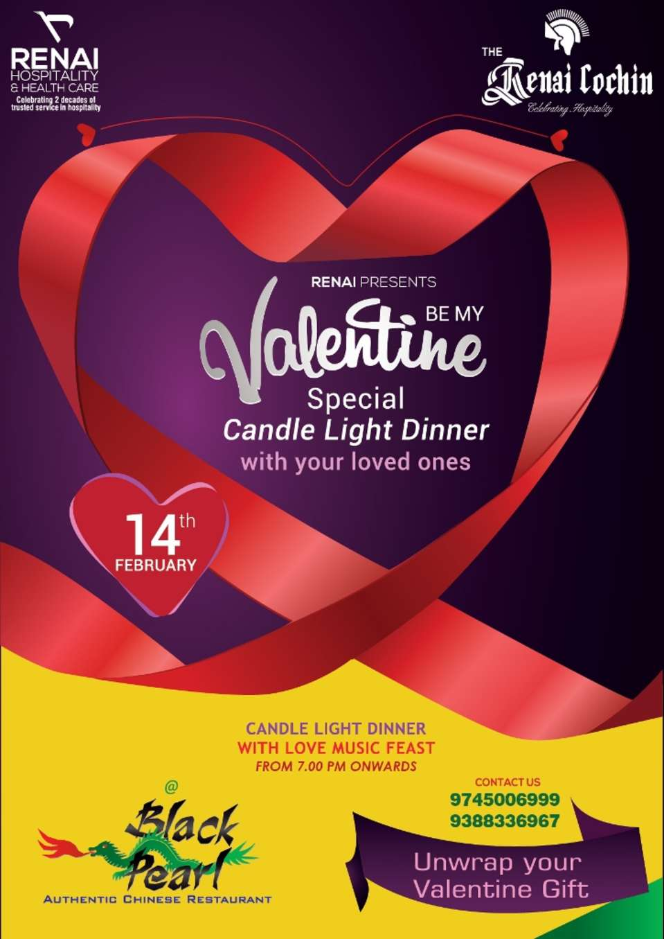 Candle light dinner with love music feast
