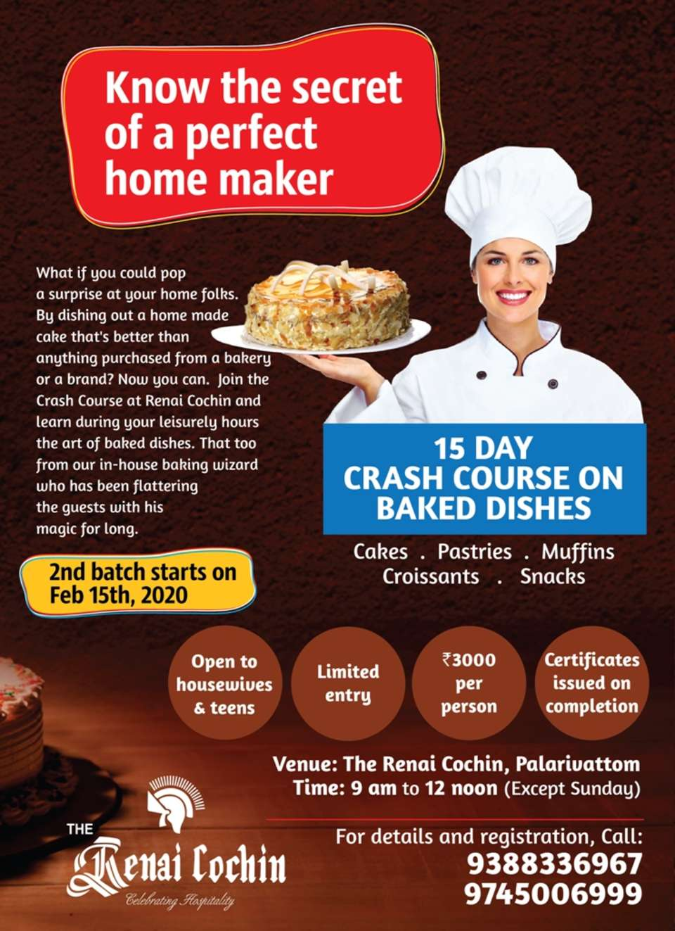 Baked dishes Crash course - 2nd batch-15th Feb
