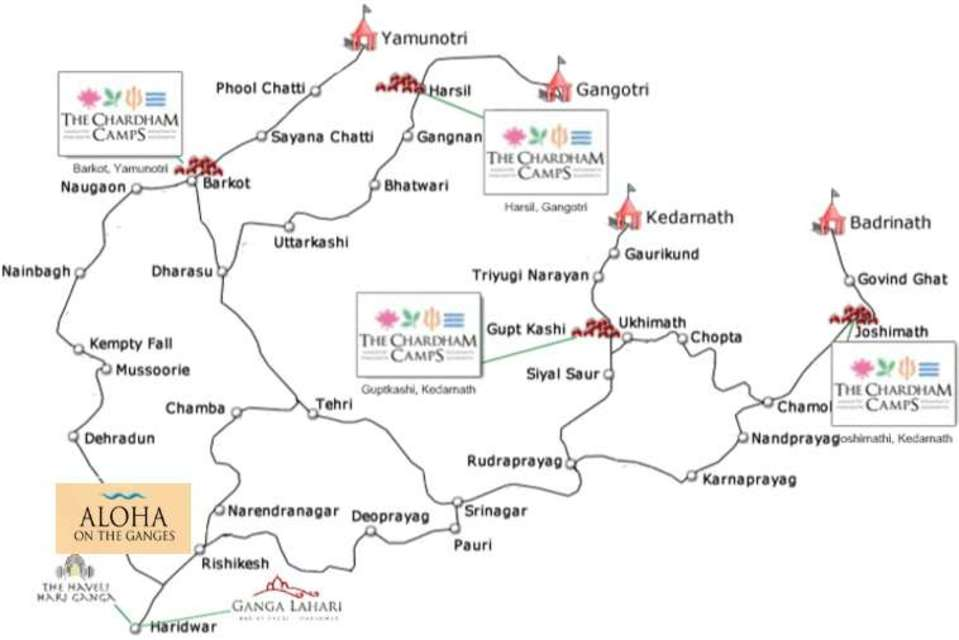 Chardham Route Map - The Chardham Camps Uttarkashi