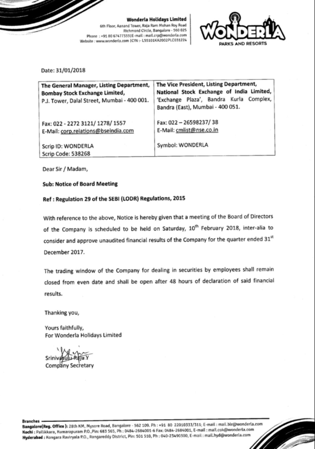 Q3 2017 Board Meeting Notice