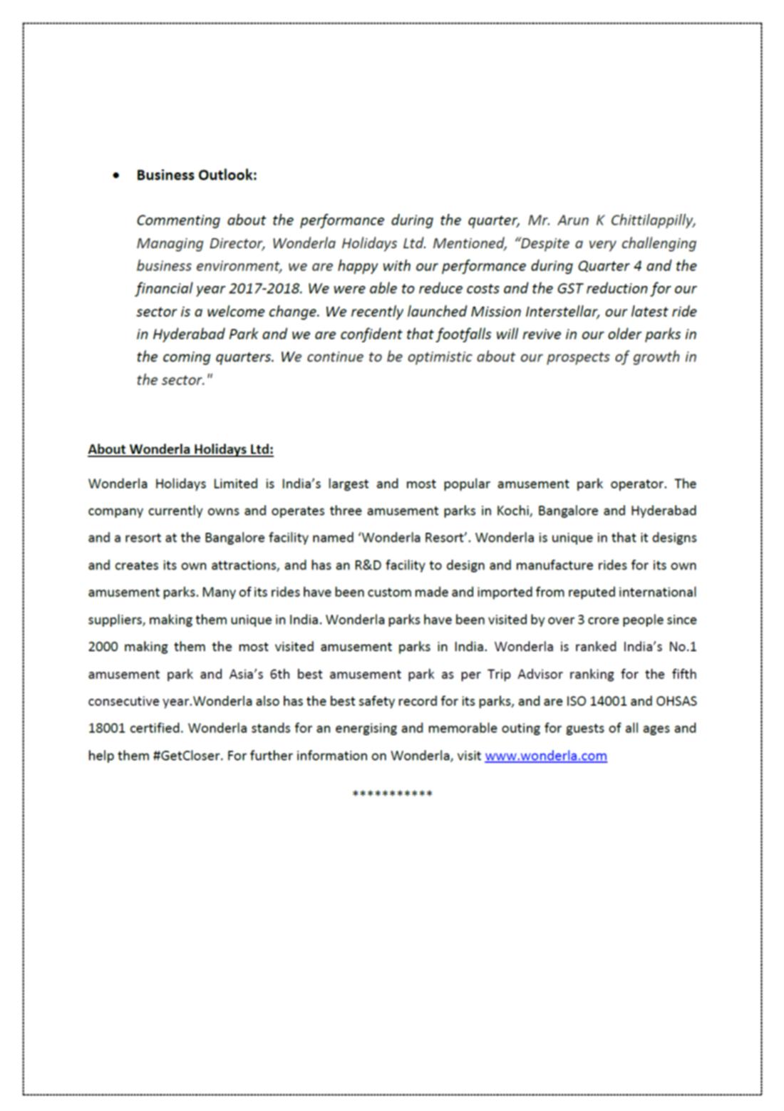 Annual Report Press Release 2
