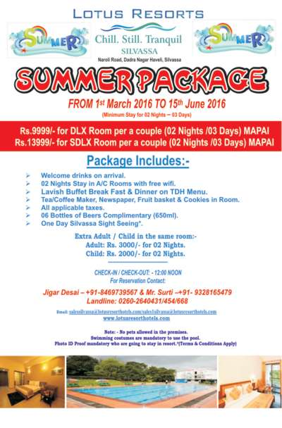 Lotus Riverside Resort, Silvassa Silvassa Summer Package 2016
