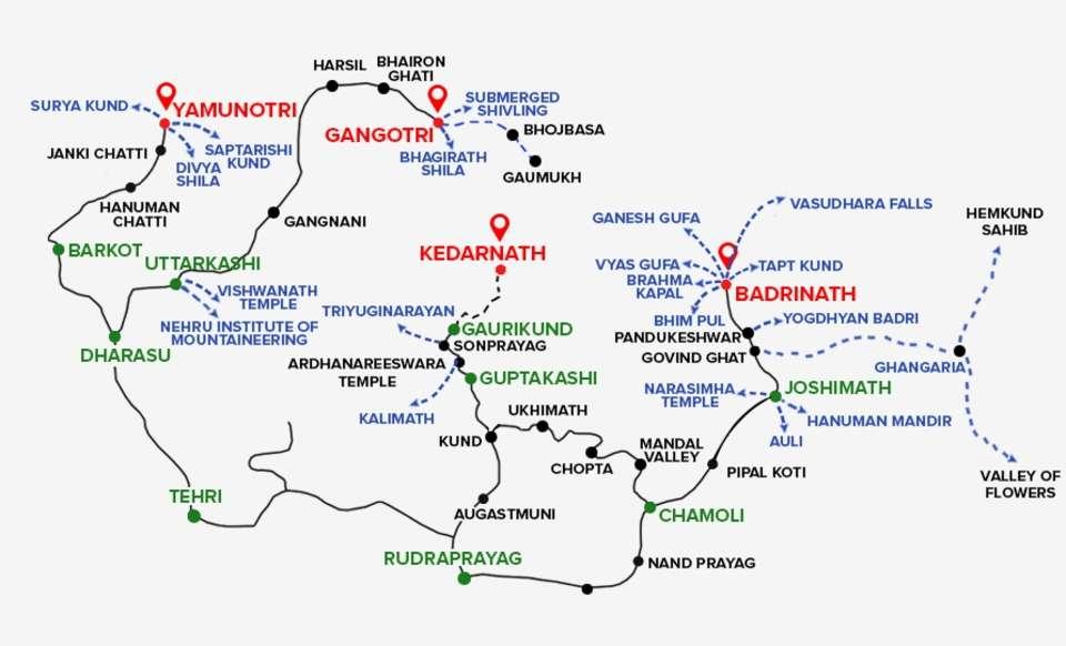 Map Chardham Yatra by Leisure Hotels